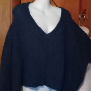 Free People Textured V neck Sweater Blue Sz Small